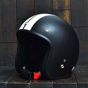 Mũ Bảo Hiểm 3/4 Dammtrax big line đen trắng nhám