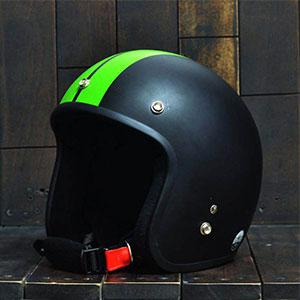Mũ Bảo Hiểm 3/4 Dammtrax big line đen xanh lá nhám