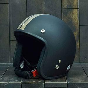 Mũ Bảo Hiểm 3/4 Dammtrax retro đen đồng nhám
