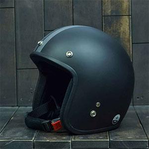 Mũ Bảo Hiểm 3/4 Dammtrax retro đen xám nhám