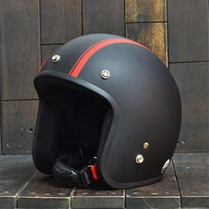 Mũ bảo hiểm 3/4Dammtrax small line đen đỏ nhám