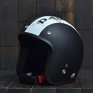 Mũ Bảo Hiểm 3/4 Dammtrax srat đen trắng nhám