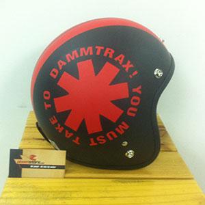 Mũ bảo hiểm 3/4 big line srat đen đỏ Napoli