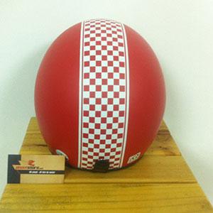 Mũ bảo hiểm 3/4 cờ đua đỏ nhám (Napoli)