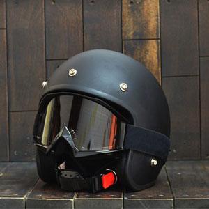 Kính cho mũ bảo hiểm 3/4 - Kính ly goggle 12 (màu khói)