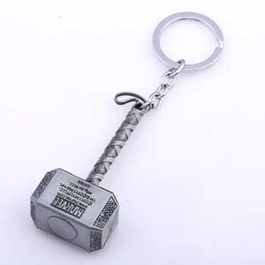 Móc khóa búa Thor kim loại bạc
