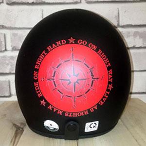 Mũ 3/4 ride on đen đỏ Napoli