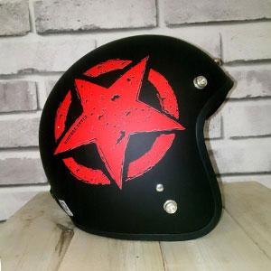Mũ bảo hiểm 3/4 vintage đen đỏ nhám Napoli