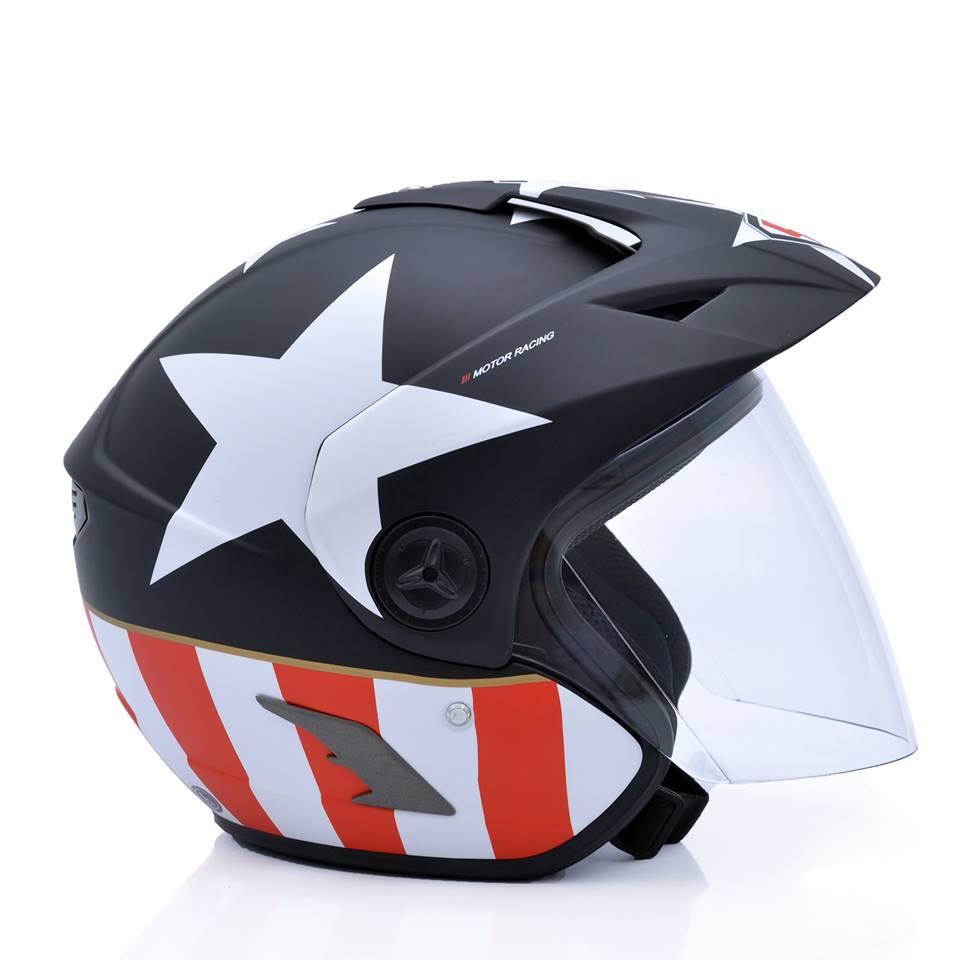 Mũ bảo hiểm 3/4 Yohe 877A sao đen trắng