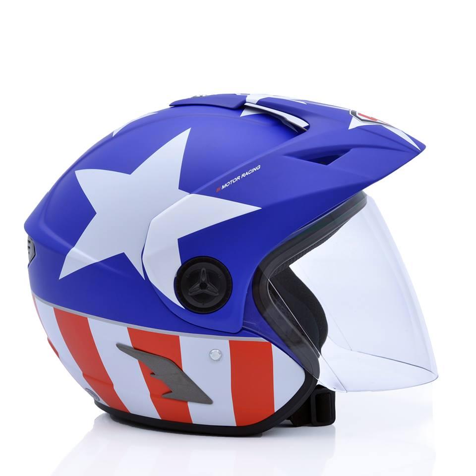 Mũ bảo hiểm 3/4 Yohe 877A sao xanh trắng