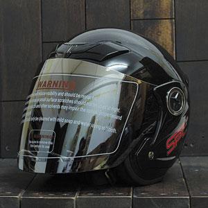 Mũ bảo hiểm 3/4 SPC đen bóng