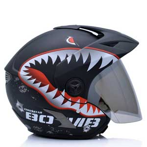 Mũ bảo hiểm 3/4 Yohe 877A cá mập đen (Kính tráng gương)