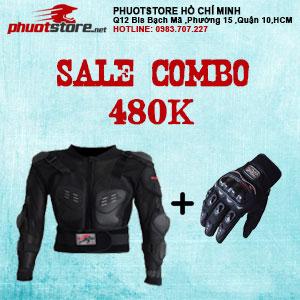 Sale combo áo giáp và găng tay Probiker 480k