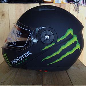 Mũ bảo hiểm lật cằm GXT Monster đen nhám