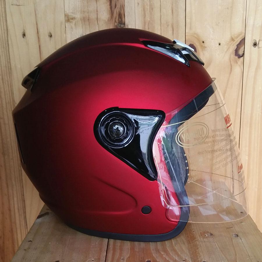 Nón bảo hiểm 3/4 Napoli có kính 039 đỏ đô nhám