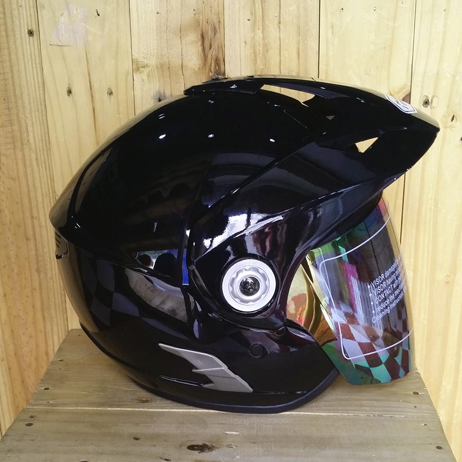 Mũ bảo hiểm 3/4 có kính Napoli N555 đen bóng
