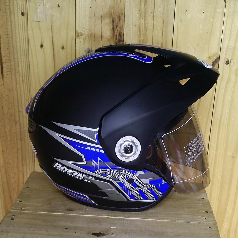 Nón bảo hiểm 3/4 có kính Napoli N555 đen xanh dương nhám