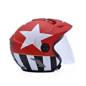 Mũ bảo hiểm 3/4 Yohe 887a đen đỏ tem sao trắng