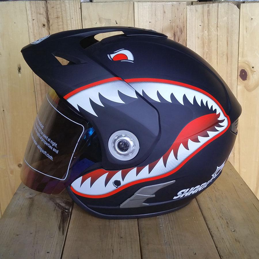 Nón bảo hiểm 3/4 có kính Napoli N555 cá mập đen nhám