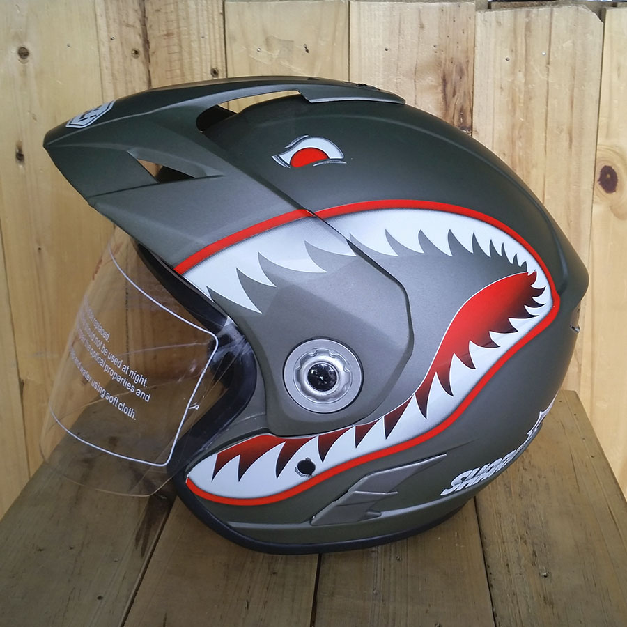 Nón bảo hiểm 3/4 có kính Napoli N555 cá mập xám nhám
