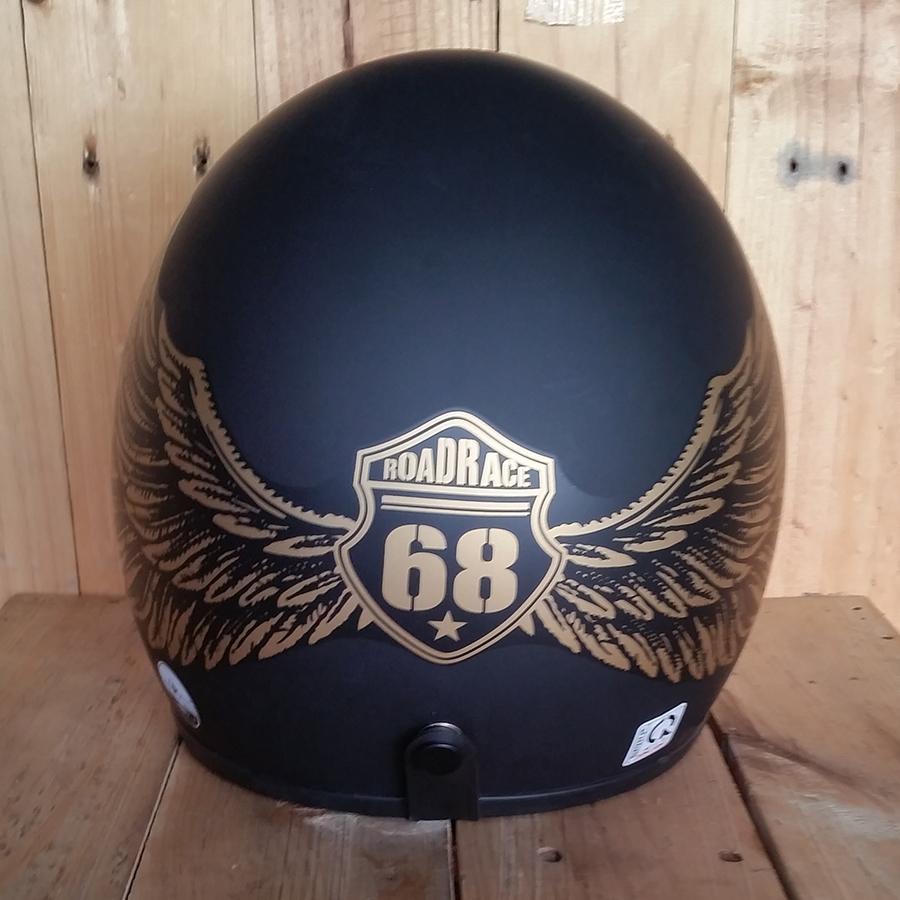 Nón bảo hiểm 3/4 Napoli cánh chim 68 đen đồng nhám