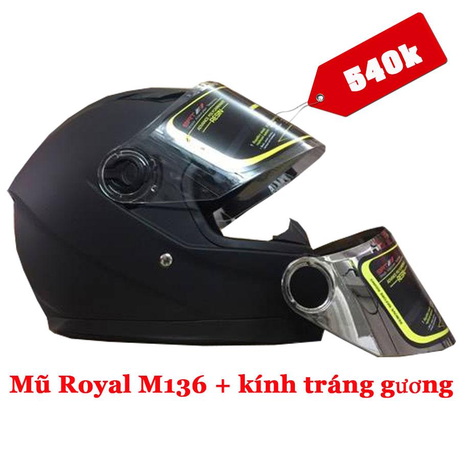 Nón bảo hiểm fullface Royal M136 đen nhám (tặng kèm kính thay tráng gương)