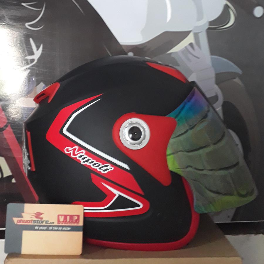 Mũ bảo hiểm 3/4 Napoli có kính bò cạp đen đỏ