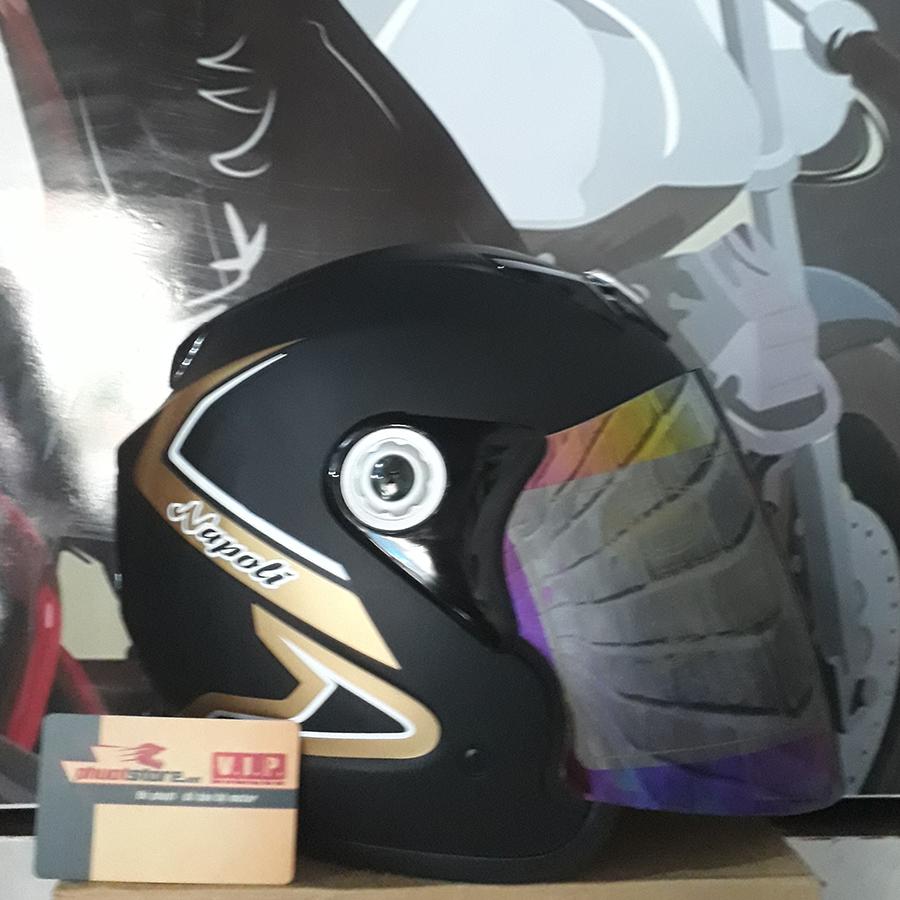 Mũ bảo hiểm 3/4 có kính Napoli bò cạp đen nâu