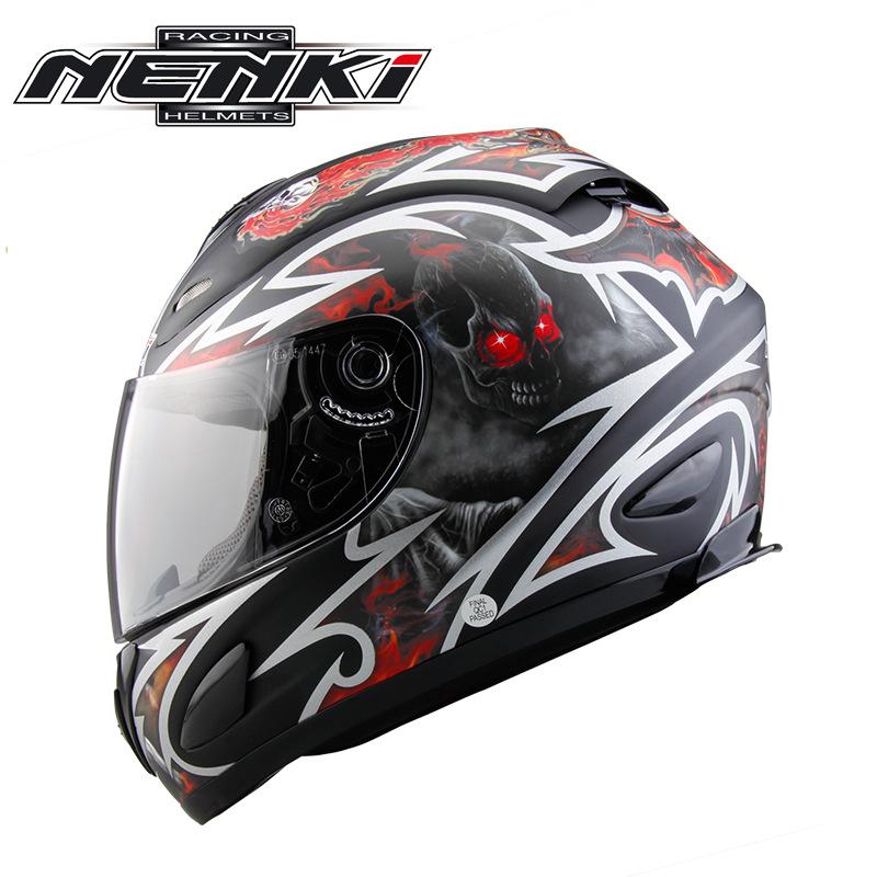 Mũ bảo hiểm fullface Nenki 802 tem đỏ trắng đen
