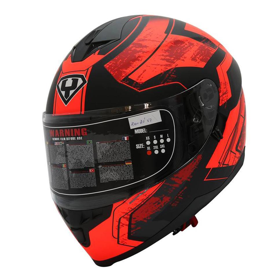 Mũ bảo hiểm fullface Yohe 967 2 kính tem đen đỏ ver2