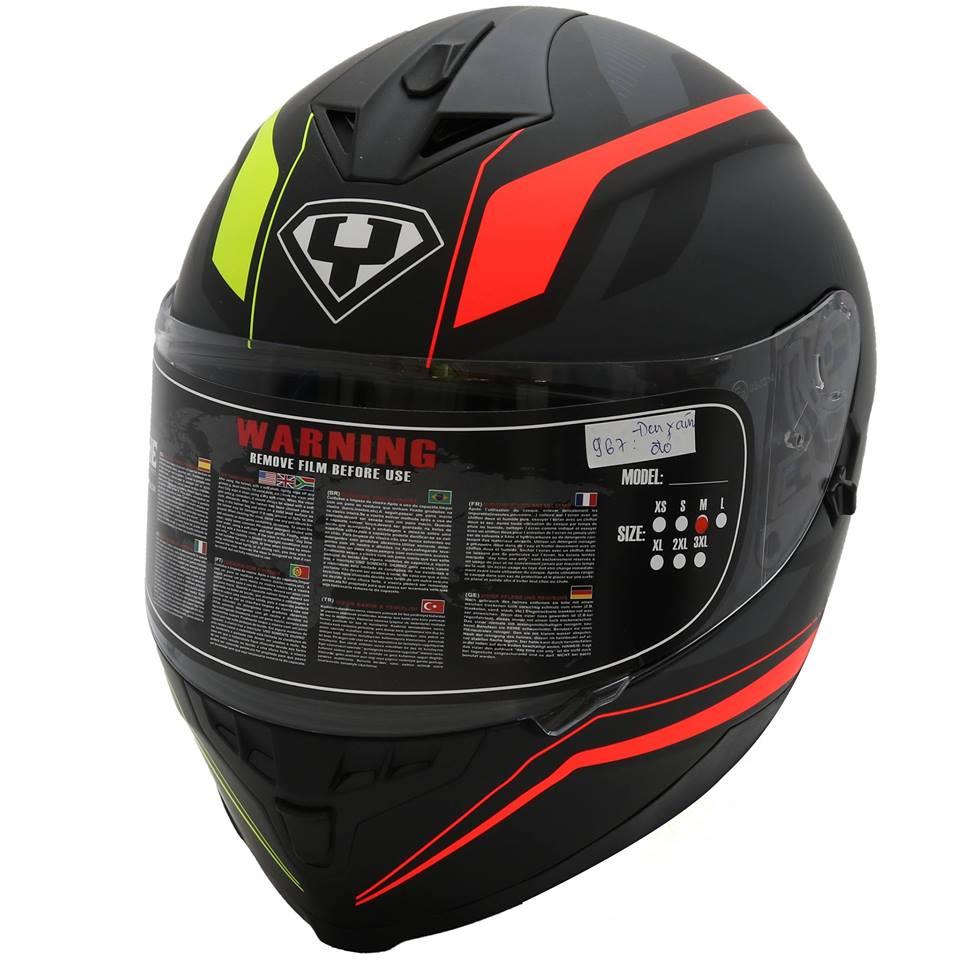 Mũ bảo hiểm fullface Yohe 967 2 kính tem xám đỏ