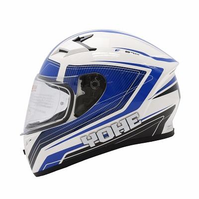 Mũ bảo hiểm fullface Yohe 978 Storm (trắng xanh)