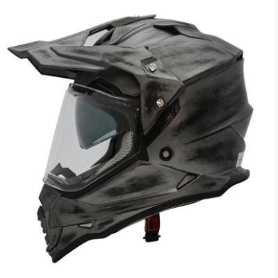 Mũ cào cào Dual Sport Yohe 632 2 kính (tem đen bạc)