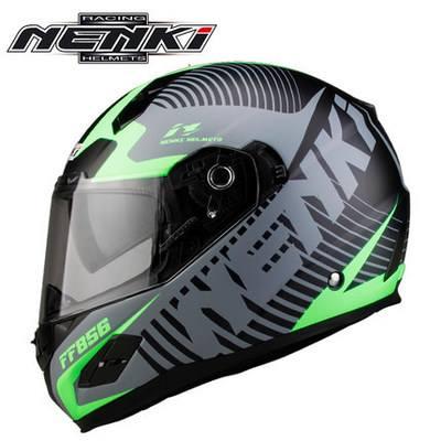 Mũ bảo hiểm fullface Nenki racing helmet ( 2 kính tem đen xanh)