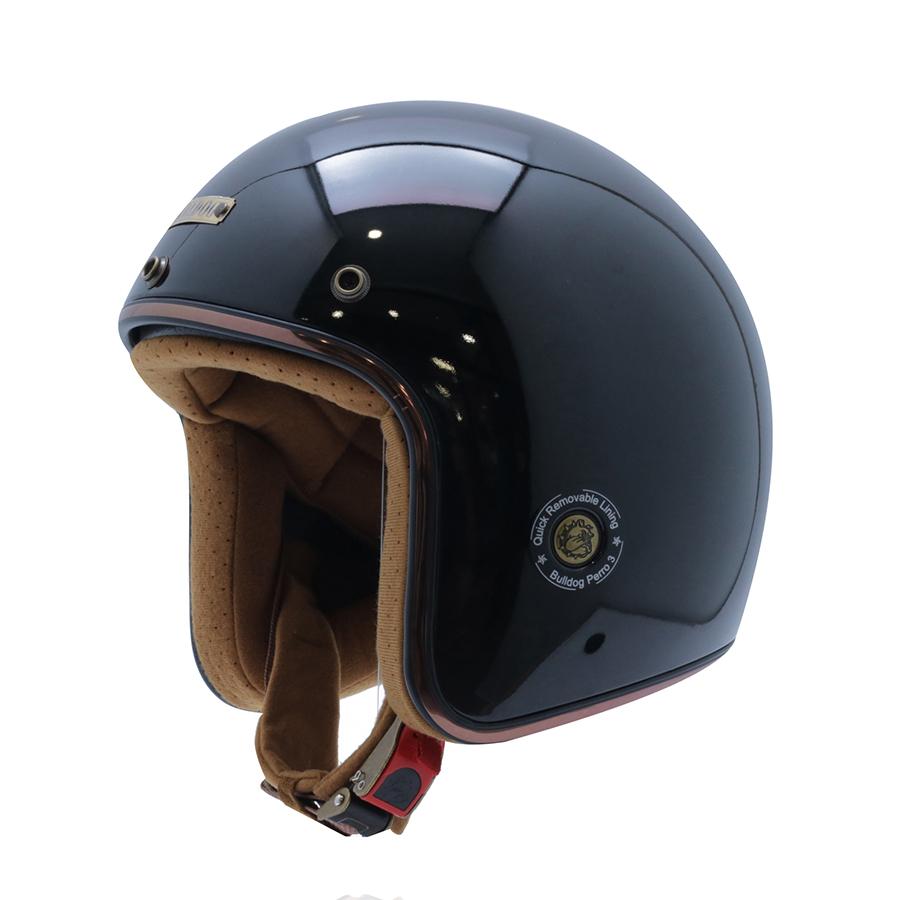 Mũ bảo hiểm 3/4 Bulldog Perro Version 3 đen bóng