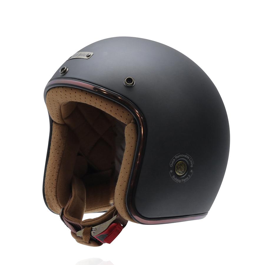 Mũ bảo hiểm 3/4 Bulldog Perro Version 3 đen nhám