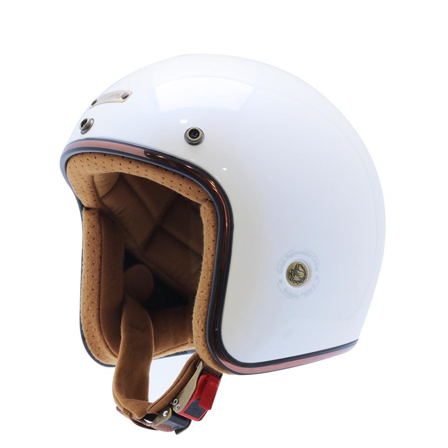 Mũ bảo hiểm 3/4 Bulldog Perro Version 3 trắng ngọc trai