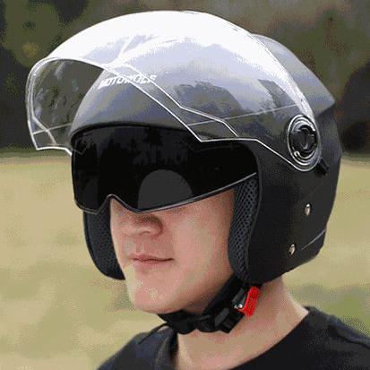 Mũ bảo hiểm 3/4 có kính Motowolf