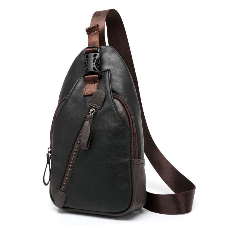 Túi đeo chéo da cho nam nhỏ 01 (màu đen)