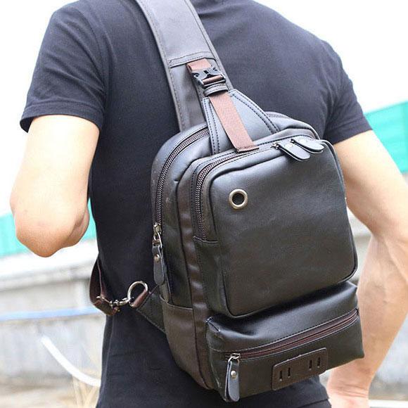 Túi đeo chéo da cho nam nữ 01 (màu đen)