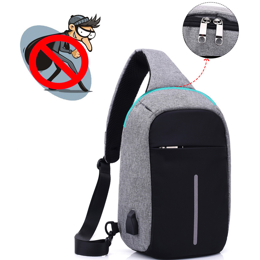 Túi đeo chéo chống trộm, chống rạch, cổng sạc USB TC21