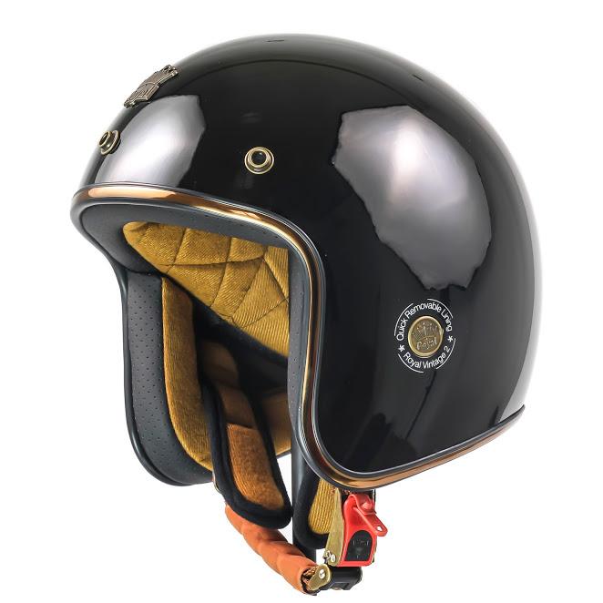 Mũ 3/4 Royal M20c cao cấp sang trọng (đen bóng)