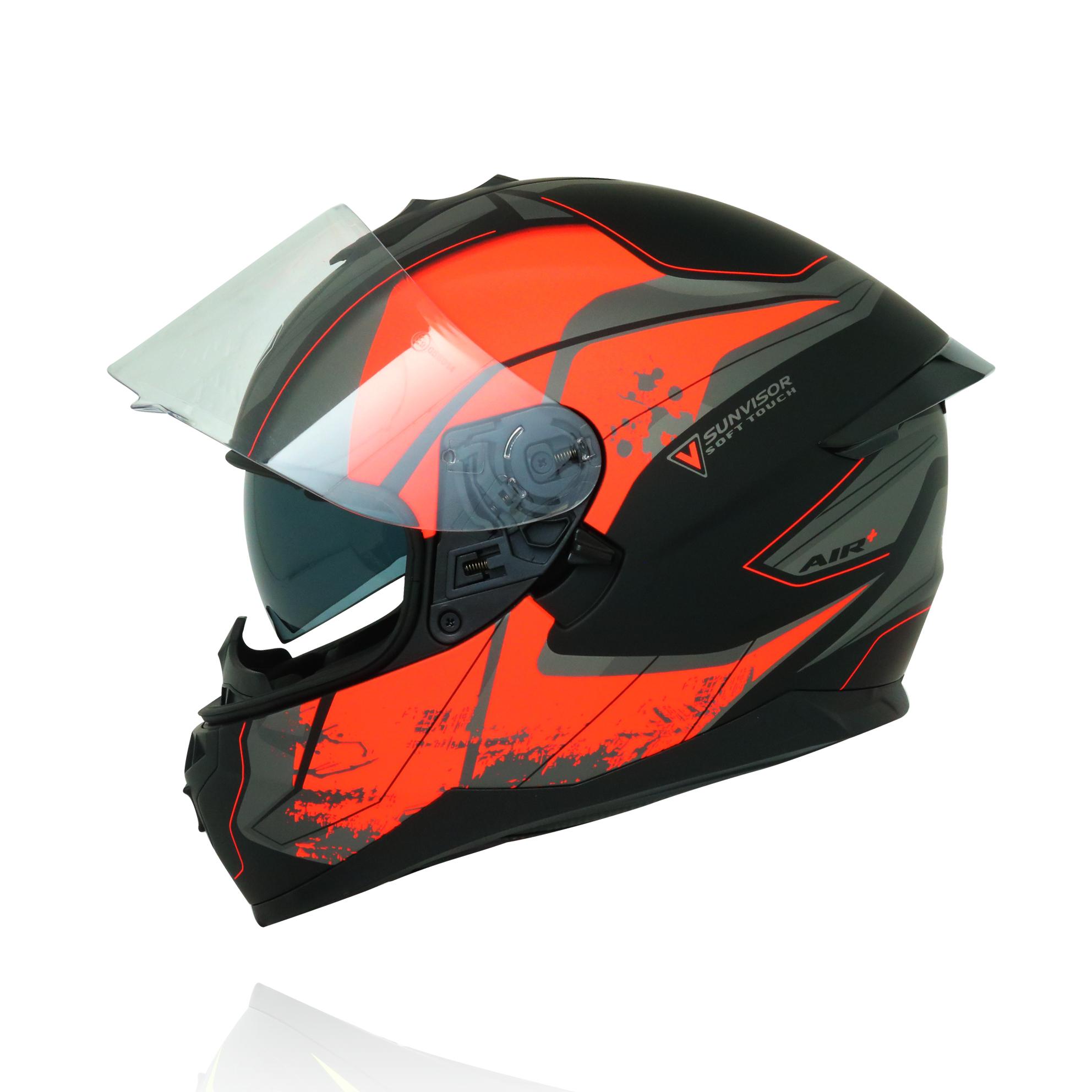 Mũ bảo hiểm fullface Yohe 967 2 kính tem đen cam