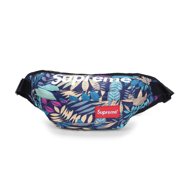 Túi bao tử, túi đeo bụng, túi đeo chéo superme (họa tiết lá xanh)