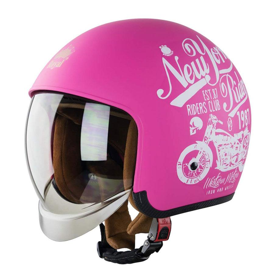 Mũ bảo hiểm 3/4 Royal M139 kính ẩn bên trong (hồng họa tiết)