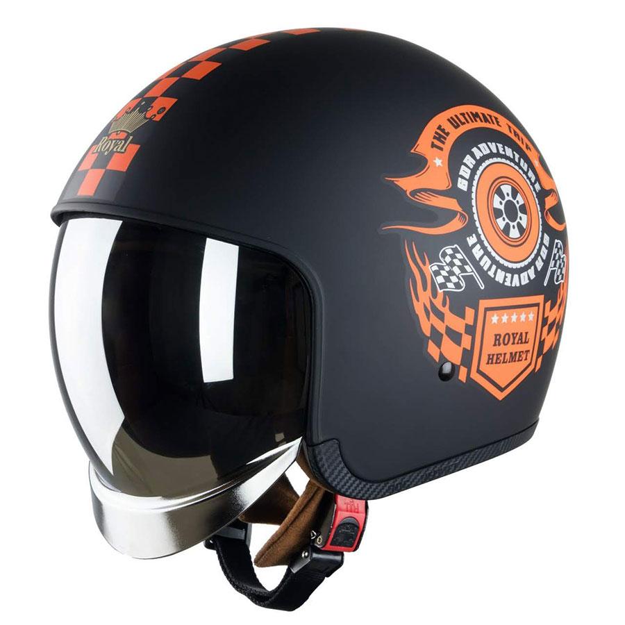 Mũ bảo hiểm 3/4 Royal M139 kính ẩn bên trong (racing đen cam)