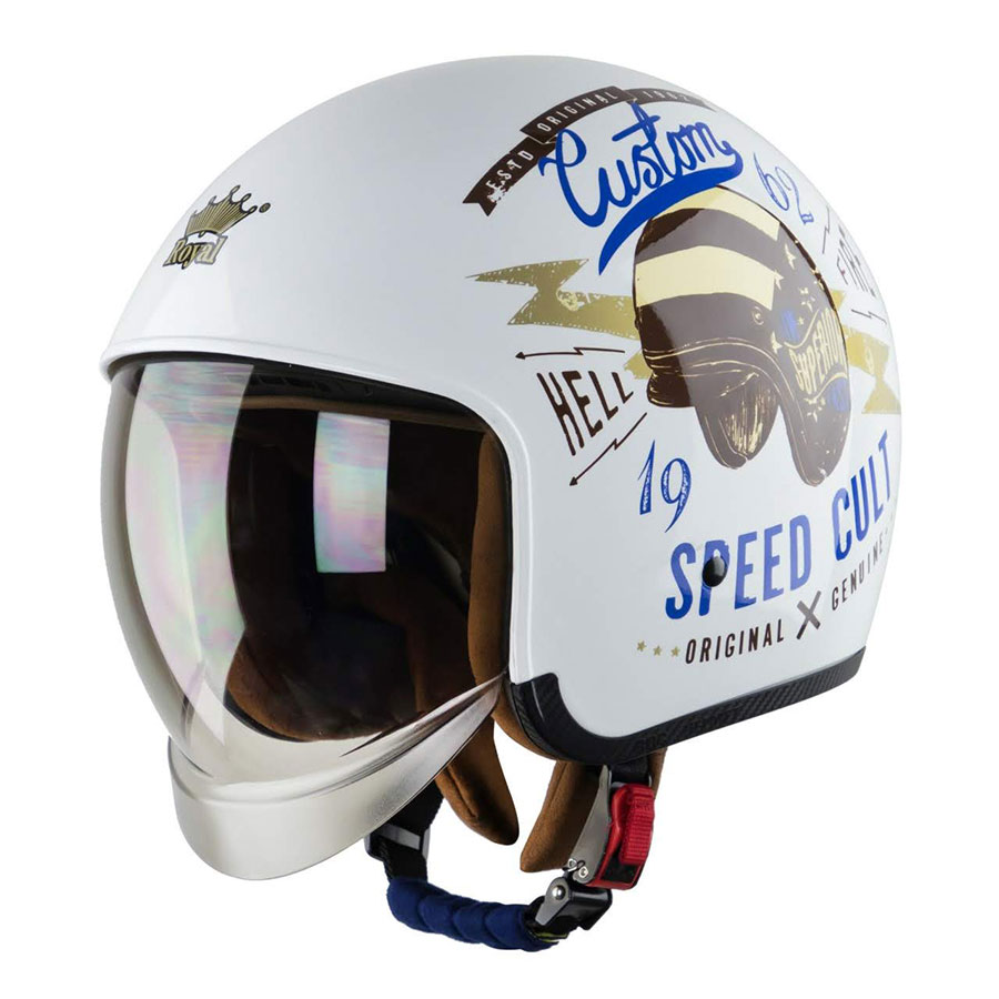 Mũ bảo hiểm 3/4 Royal M139 kính ẩn bên trong (speed cult trắng bóng)