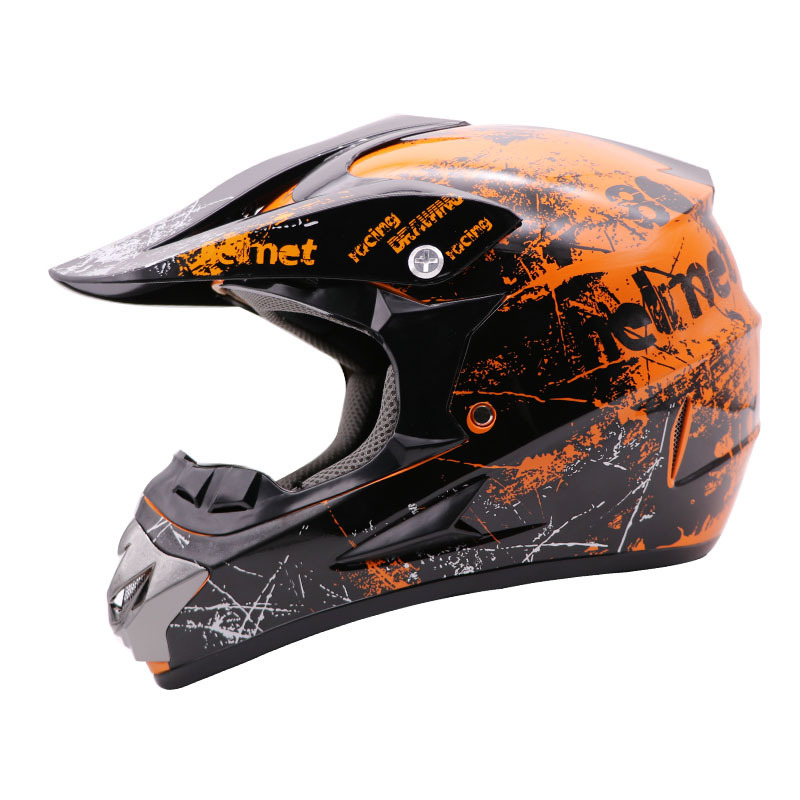 Mũ bảo hiểm fullface Cào Cào Helmo tem cam đen bóng