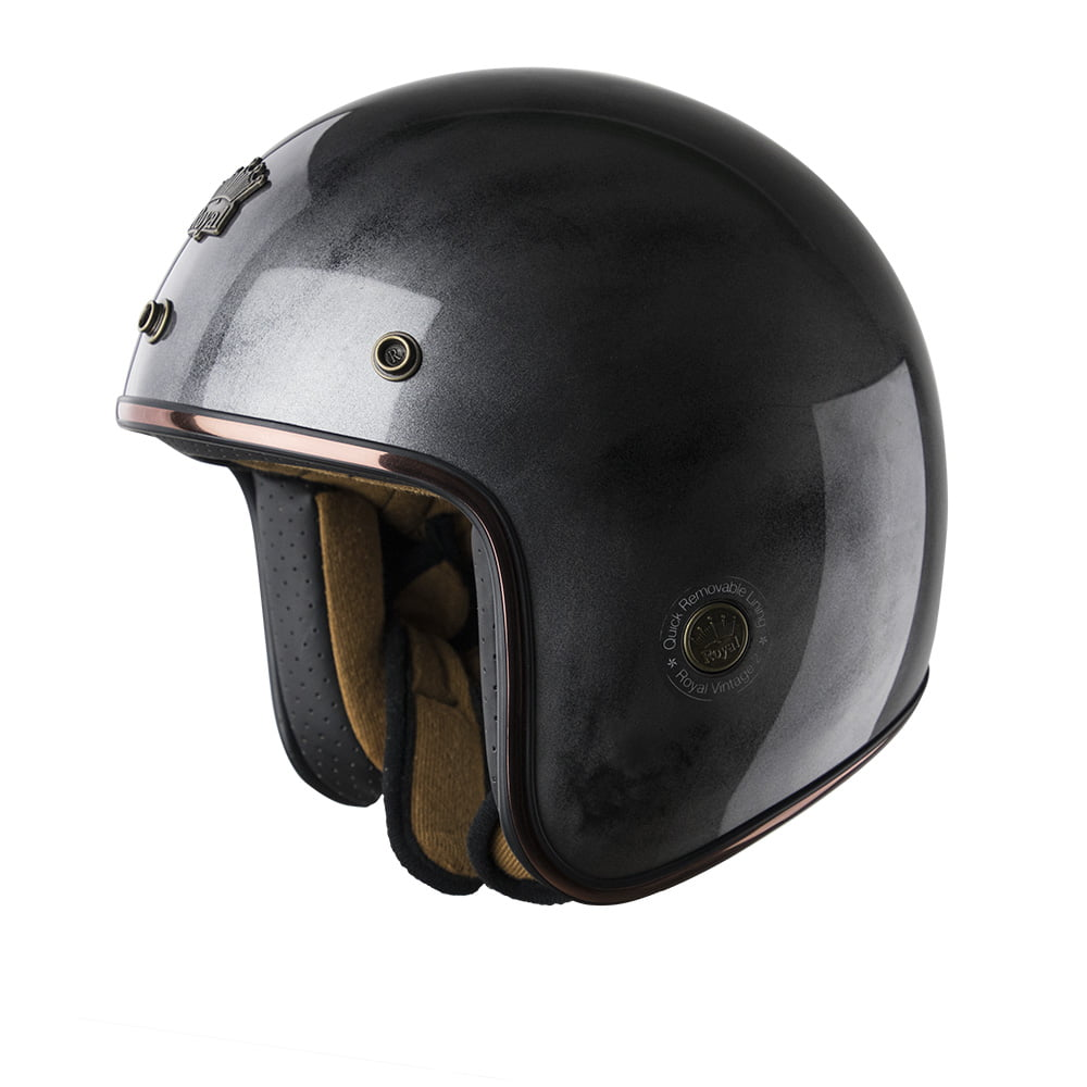 Mũ 3/4 Royal M20c xám xước bóng