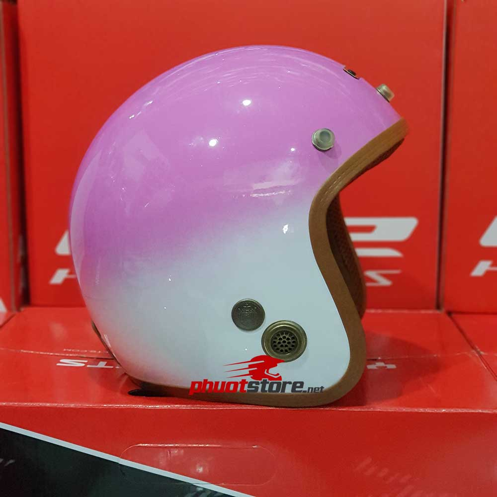 Mũ bảo hiểm 3/4 Napoli scoot 2 màu hồng trắng